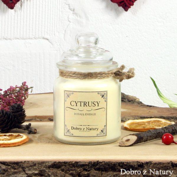 Świeca zapachowa sojowa – CYTRUSY dodadzą energii