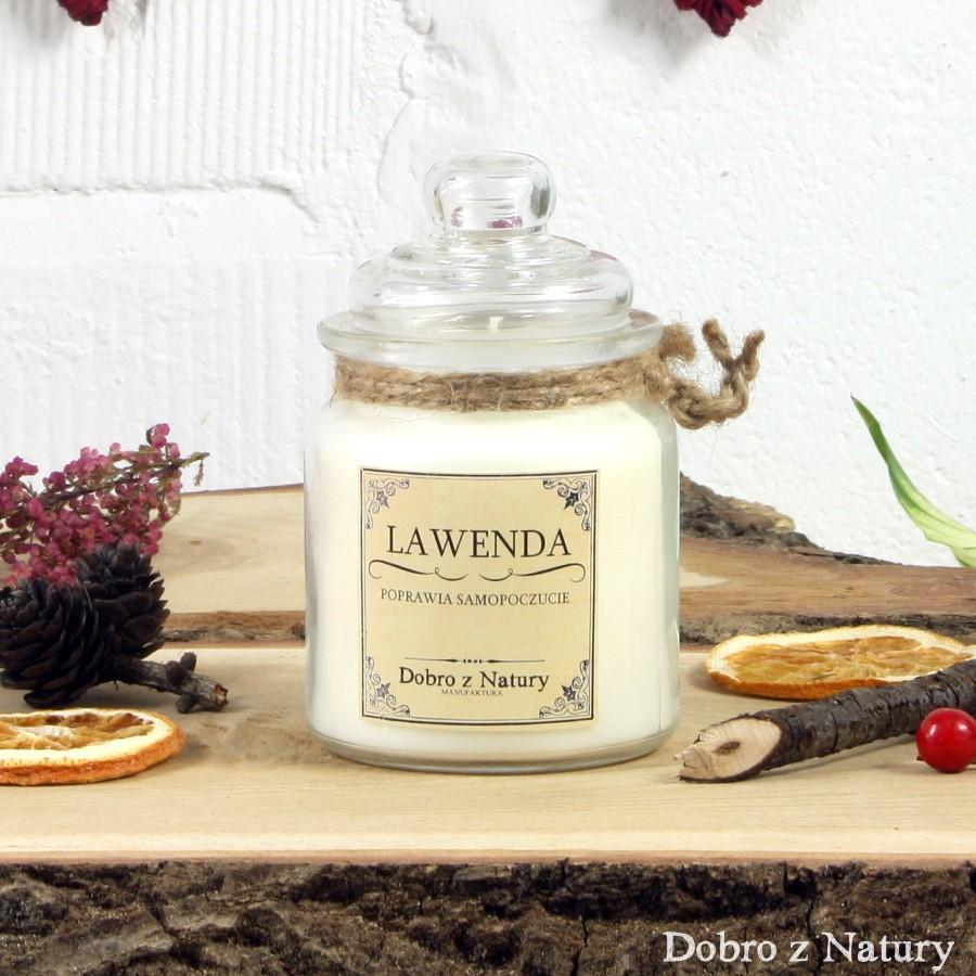 Świeca zapachowa sojowa – LAWENDA poprawia samopoczucie