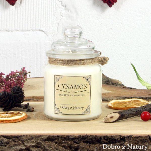 Świeca zapachowa sojowa – CYNAMON odpręża i rozgrzewa