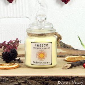 Świeca zapachowa sojowa – RADOŚĆ kompozycja na szczęście
