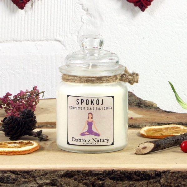 Świeca zapachowa sojowa – SPOKÓJ kompozycja dla ciała i ducha