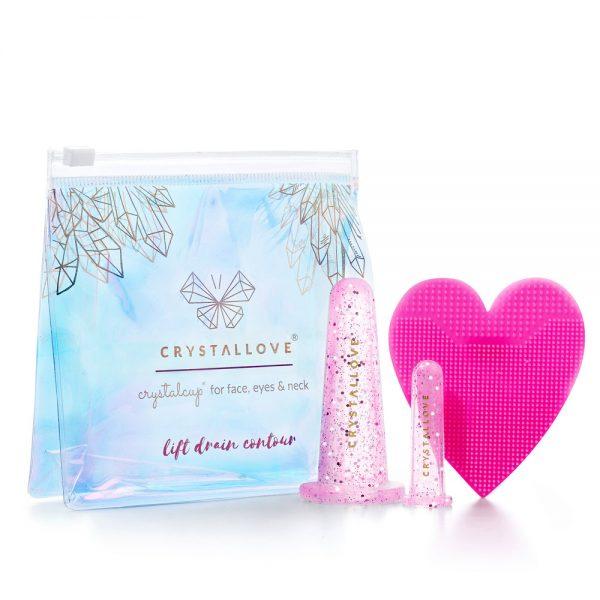 Silikonowe bańki do masażu twarzy CRYSTALLOVE różowe